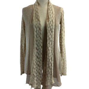 A'Reve Floral Lace Flowy Open Front Sweater M